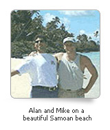 Alan and Mike on a Samoa beach